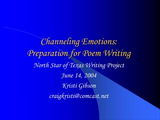 Channeling Emotions:  Preparation for Poem Writing
