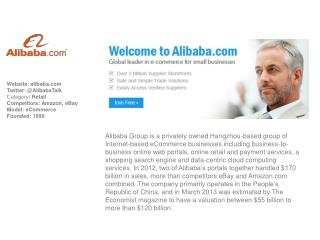 Website:  alibaba Twitter: @AlibabaTalk Category :  Retail Competitors: Amazon, eBay