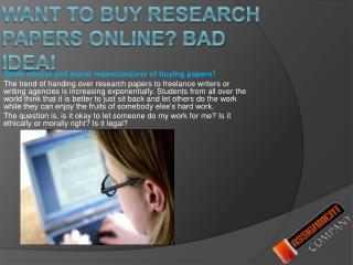 Want to buy research papers online? Bad idea!