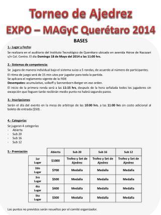 Torneo  de Ajedrez  EXPO �  MAGyC  Quer�taro 2014