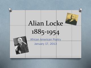 Alian  Locke  1885-1954