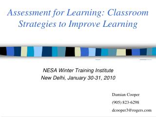 Assessment for Learning: Classroom Strategies to Improve Learning