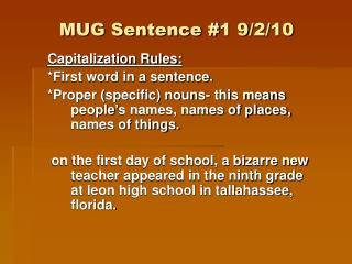 MUG Sentence #1 9/2/10