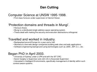 Dan Cutting Computer Science at UNSW 1995-1998.