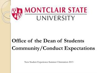Office of the Dean of Students Community/Conduct Expectations
