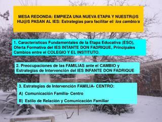 3. Estrategias de Intervención FAMILIA- CENTRO: Comunicación Familia- Centro
