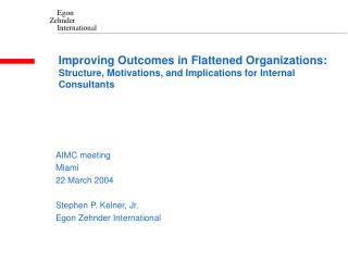 Improving Outcomes in Flattened Organizations: Structure, Motivations, and Implications for Internal Consultants