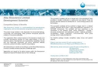 Alba Bioscience Limited Development Scientist  Competitive Salary & Benefits
