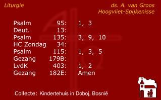 Liturgieds. A. van Groos Hoogvliet-Spijkenisse