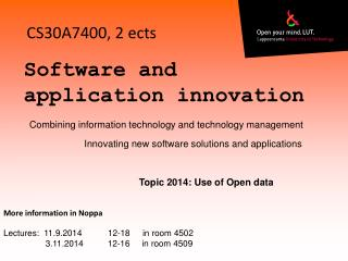 Software and application innovation