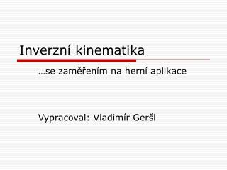 Inverzní kinematika