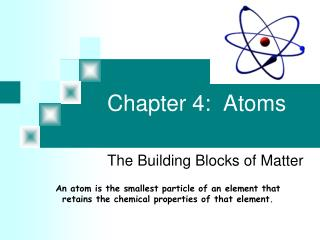Chapter 4:  Atoms