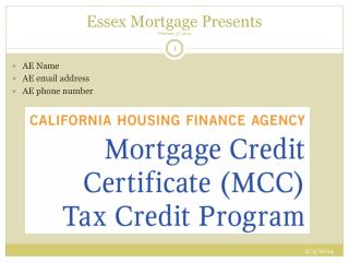 Essex Mortgage Presents February 5 th  2014
