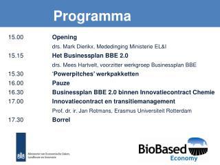 15.00  Opening drs. Mark Dierikx, Mededinging Ministerie EL&I 15.15 Het Businessplan BBE 2.0