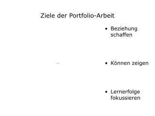 Ziele der Portfolio-Arbeit