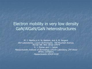 Electron mobility in very low density GaN/AlGaN/GaN heterostructures