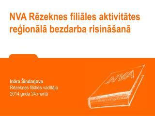 NVA Rēzeknes filiāles aktivitātes reģionālā bezdarba risināšanā