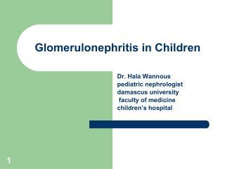 Glomerulonephritis in Children