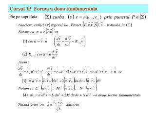 Cursul 13. Forma a doua fundamentala