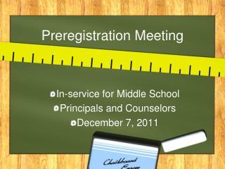 Preregistration Meeting