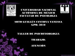 UNIVERSIDAD NACIONAL AUTÓNOMA DE MÉXICO FACULTAD DE PSICOLOGIA  SOTO GUILLÉN CINTHYA VANESSA