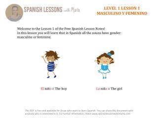 LEVEL 1 LESSON 1 MASCULINO  Y  FEMENINO