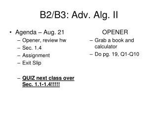B2/B3: Adv. Alg. II