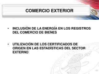 COMERCIO EXTERIOR INCLUSIÓN  DE LA ENERGÍA EN LOS REGISTROS DEL COMERCIO DE BIENES