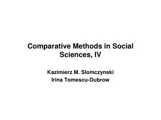 Comparative Methods in Social Sciences, I V