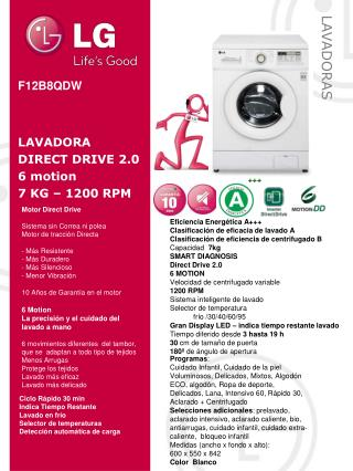 F12B8QDW LAVADORA DIRECT DRIVE 2.0 6 motion 7 KG – 1200 RPM