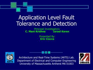 Application Level Fault Tolerance and Detection