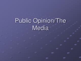 Public Opinion/The Media