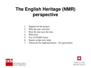 The English Heritage (NMR) perspective