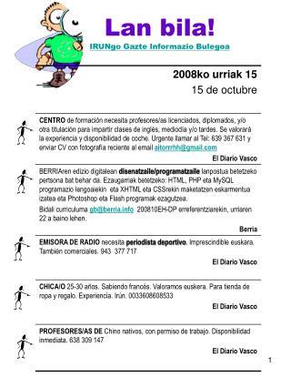 Lan bila! IRUNgo Gazte Informazio Bulegoa