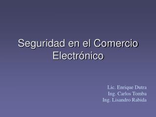 Seguridad en el Comercio Electr�nico