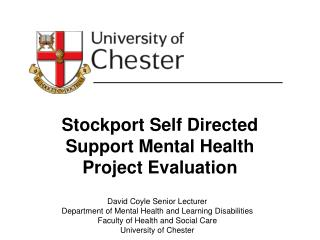 Stockport Self Directed Support Mental Health Project Evaluation