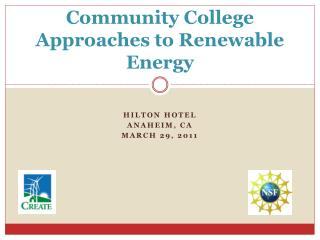 Community College Approaches to Renewable Energy