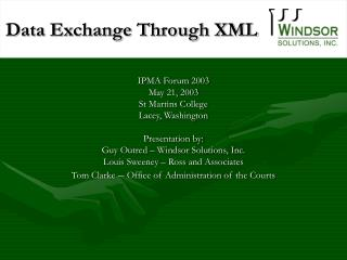 Data Exchange Through XML