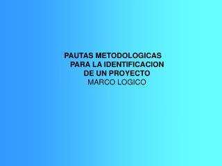 PAUTAS METODOLOGICAS PARA LA IDENTIFICACION DE UN PROYECTO MARCO LOGICO