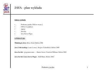 JAVA - plan wykładu