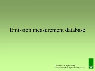 Emission measurement database