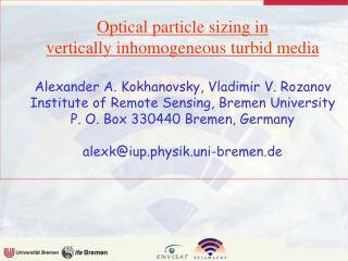 Optical particle sizing in  vertically inhomogeneous turbid media