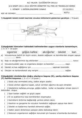 ALİ YALKIN  İLKÖĞRETİM OKULU   4/A SINIFI 2011-2012 EĞİTİM-ÖĞRETİM YILI FEN VE TEKNOLOJİ DERSİ