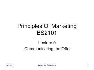 Principles Of Marketing BS2101
