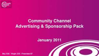 Community Channel  Advertising & Sponsorship Pack