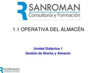 1.1 OPERATIVA DEL ALMACÉN