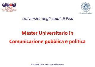 Master Universitario in  Comunicazione pubblica e politica