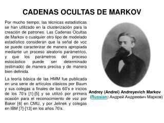 CADENAS OCULTAS DE MARKOV
