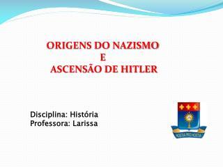 ORIGENS DO NAZISMO  E  ASCENSÃO DE HITLER