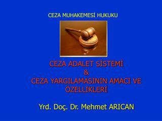 CEZA ADALET SİSTEMİ &  CEZA YARGILAMASININ AMACI VE ÖZELLİKLERİ Yrd. Doç. Dr. Mehmet ARICAN